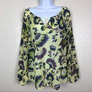 Ann Taylor Factory Yellow Navy Floral Shirt XL